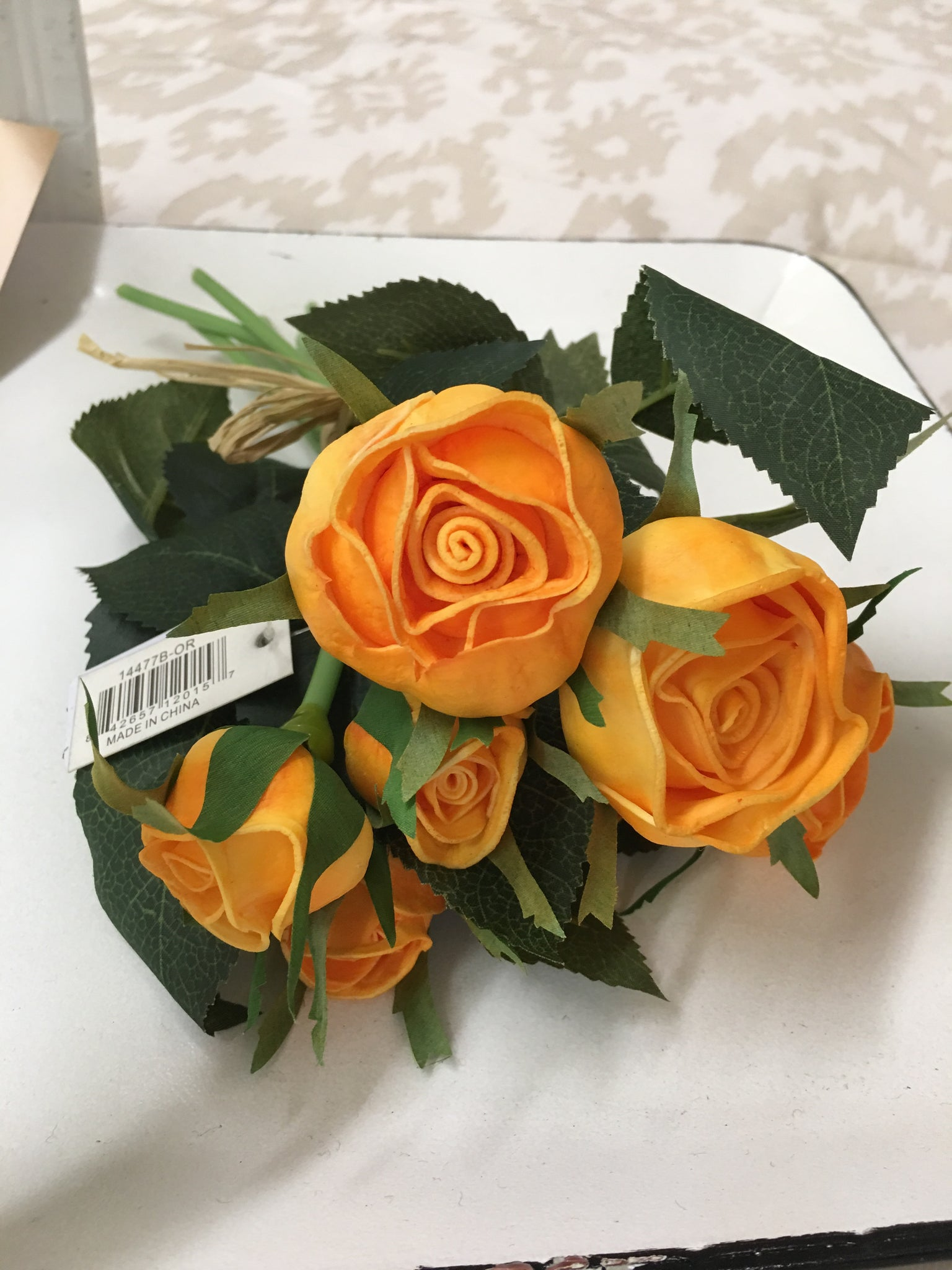 Orange Real Touch Cabbage Rose Bundle