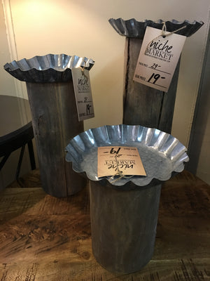 Rust Tin Top Candle Holder