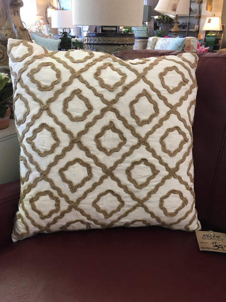 Ivory Jute Design Pillow