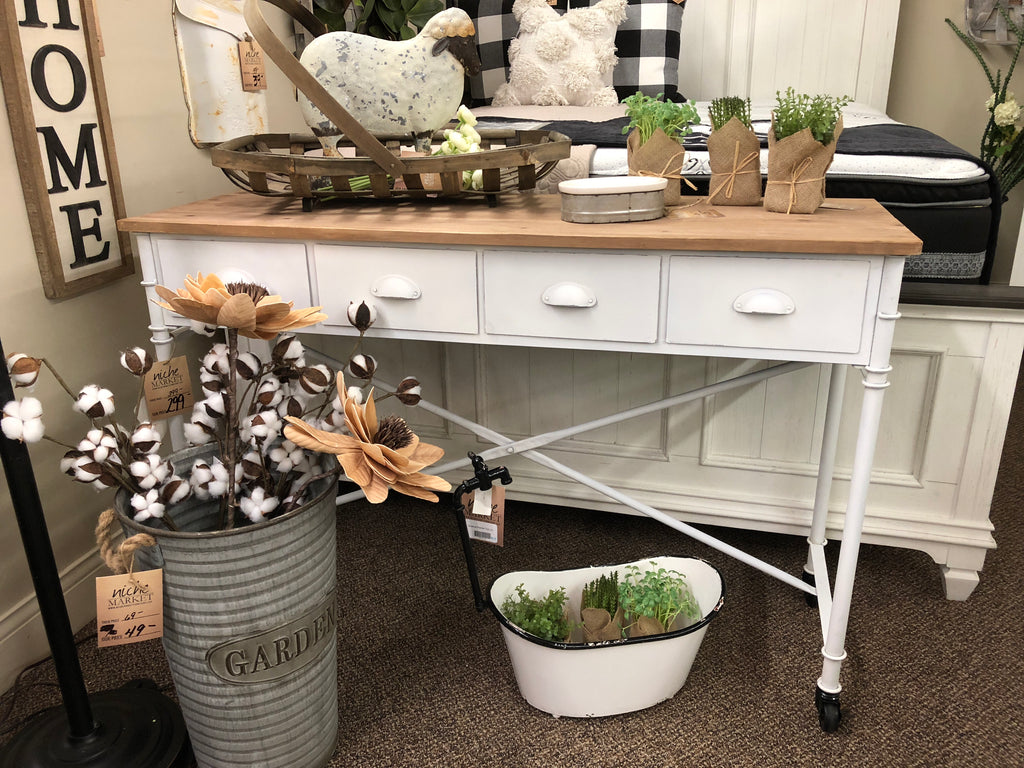 Antique White Metal and Wood Table