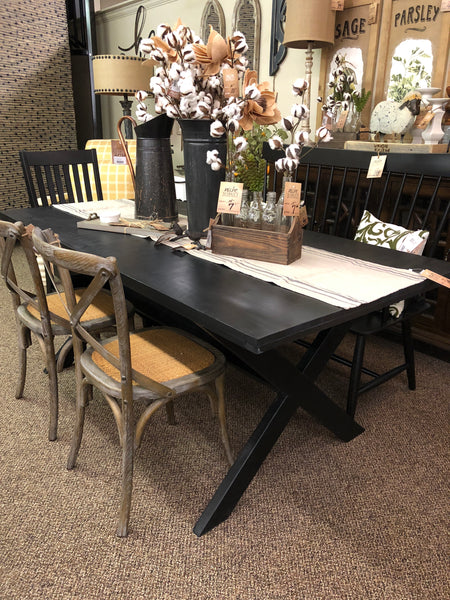 Black Distressed X-Dining Table