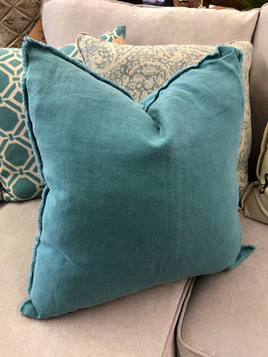 Fringed  Design Linen Pillow