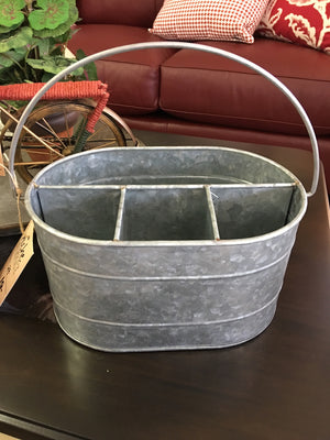 Galvanized Metal Bucket w/Compartments