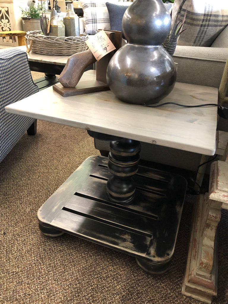 Black Wood Distressed End Table