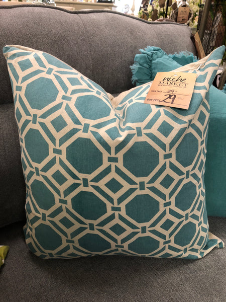 Aqua Geo Design Pillow