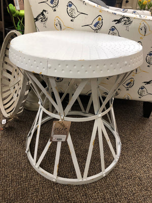 Reef Weathered White Round Accent Table