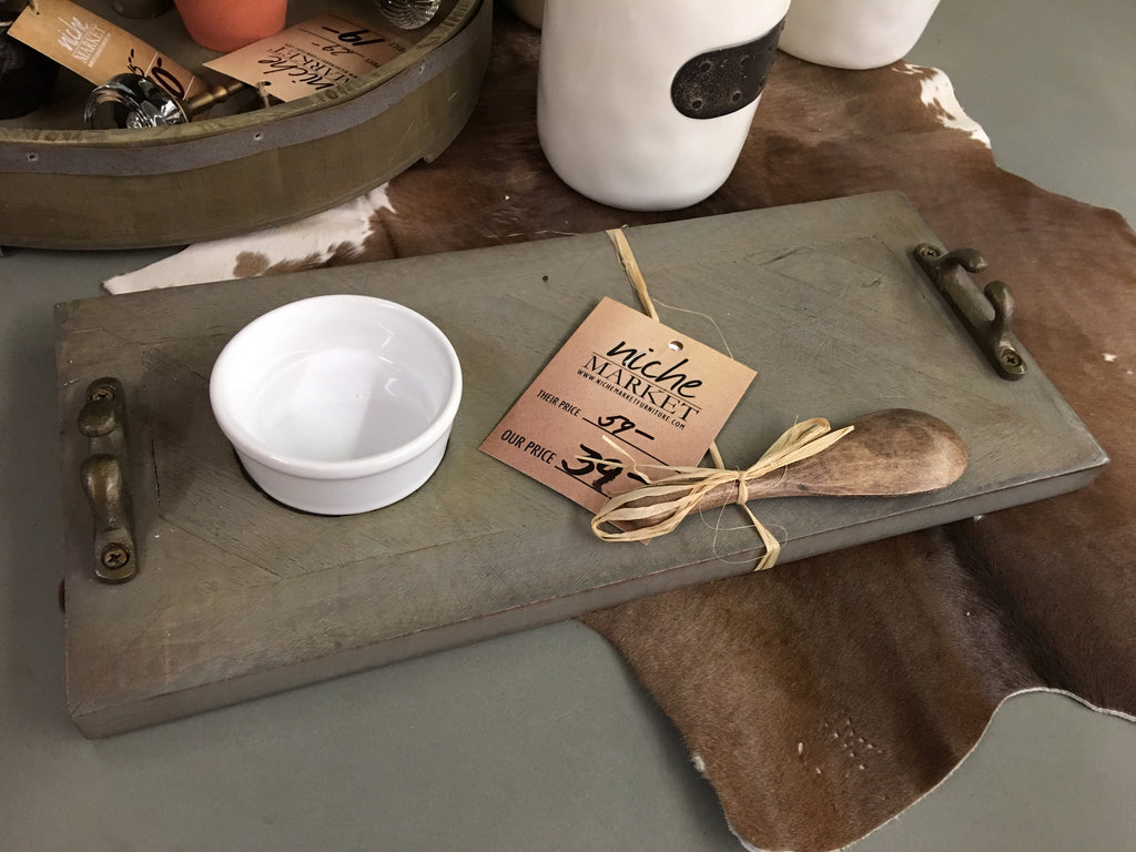 Gray Planked Wood Dip Set