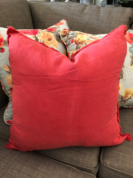 Rouge Fringed Linen Pillow