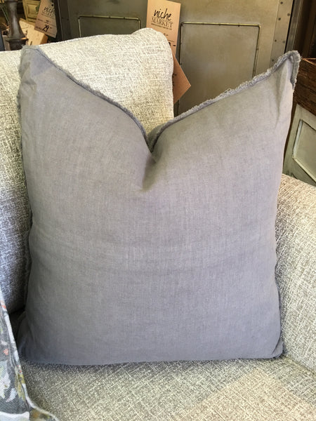 Pewter Fringed Linen Pillow