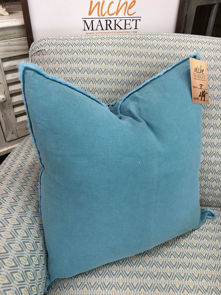 Sea Green Fringed Fringed Linen Pillow