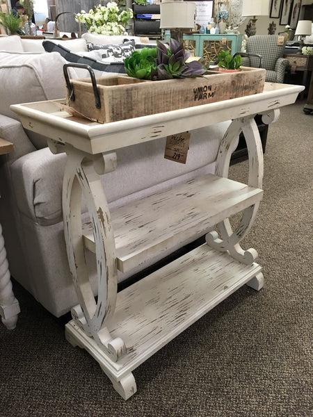 Newport Distressed White Console