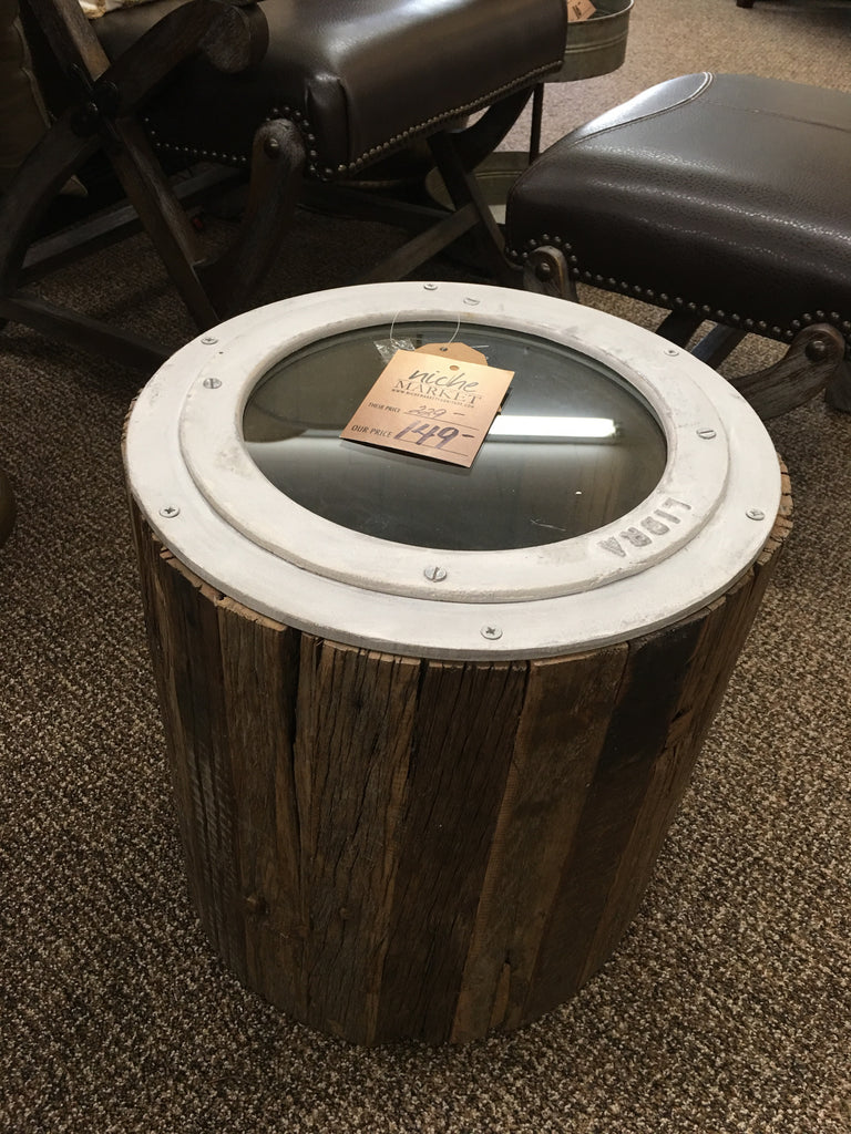 Wood with Metal Porthole Table
