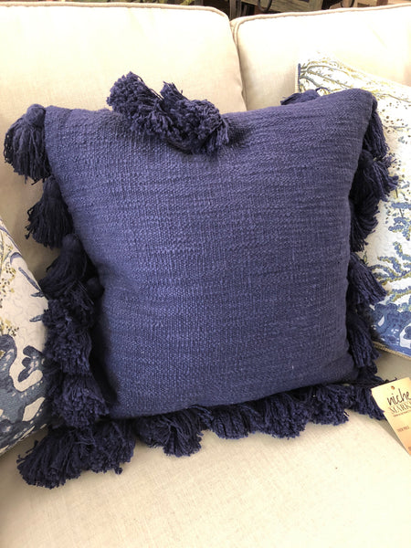 Navy Square Tassel Pillow