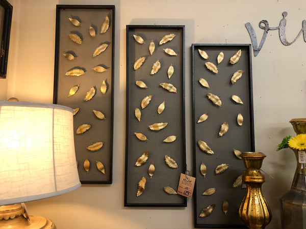 Wire and Stamped Metal Leaves Wall Art Set/3