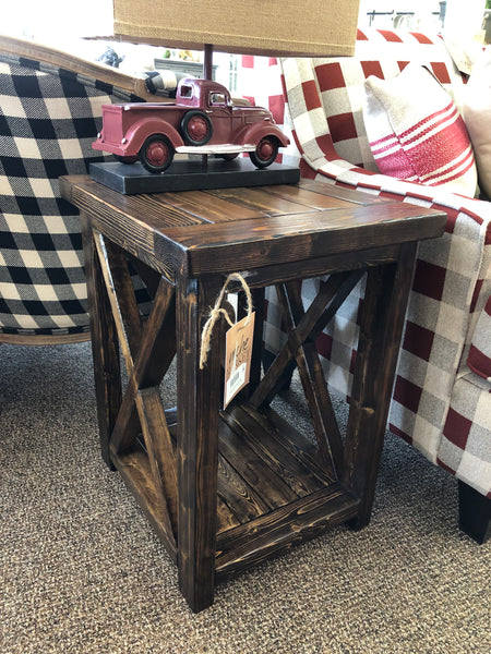 Rustic X-End Table