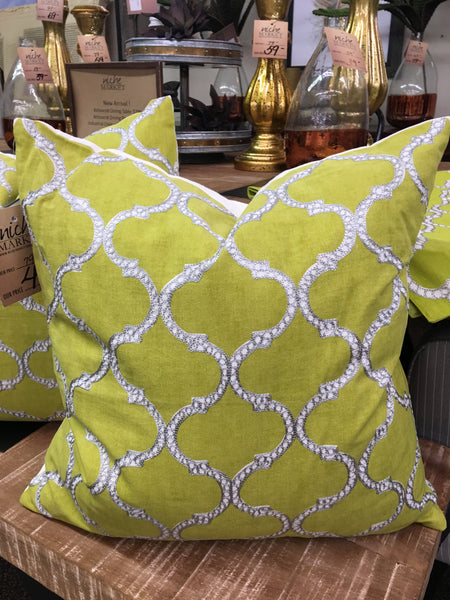 Chartreuse Lattice Design Pillow