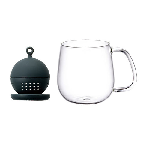 FLOATING TEA STRAINER & MUG BLACK