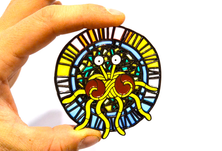 The Stained Glass Flying Spaghetti Monster Pin