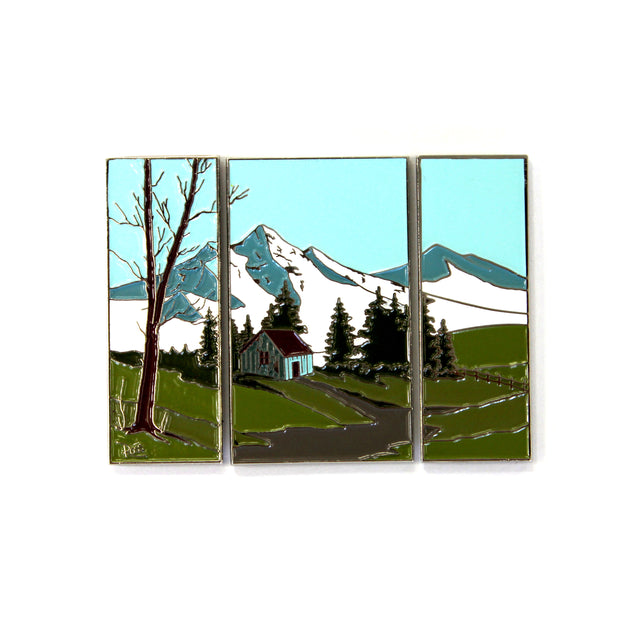 The Bob Ross Triptych Pin Set