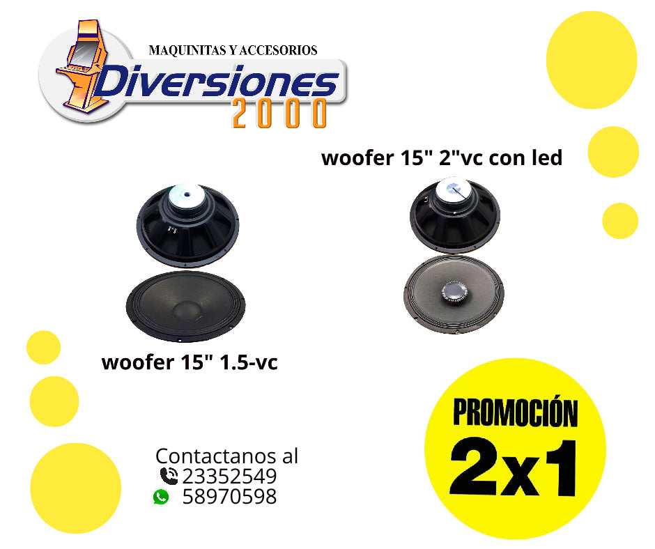 "Woofer 15"" 2""VC con led"