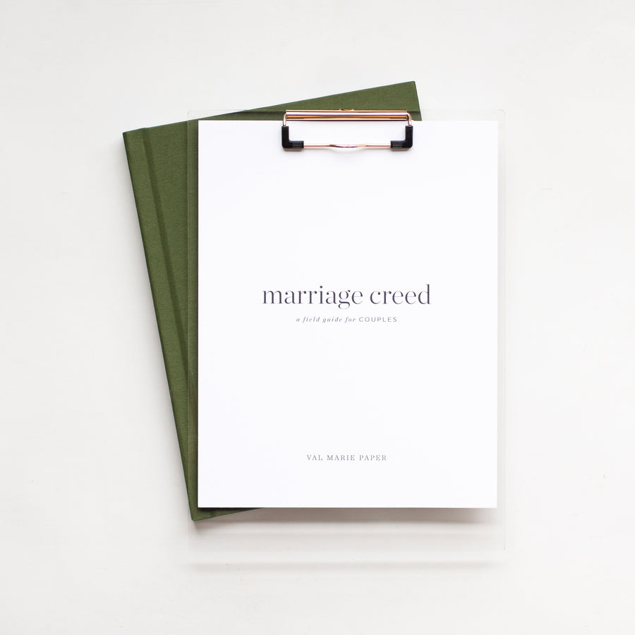 Marriage Creed by Val Marie Paper | pre-marital counseling, christian wedding, marriage prep, wedding gift, marriage journals, couples journals, valentine's day, prayer journals, bridal shower, free marriage resources