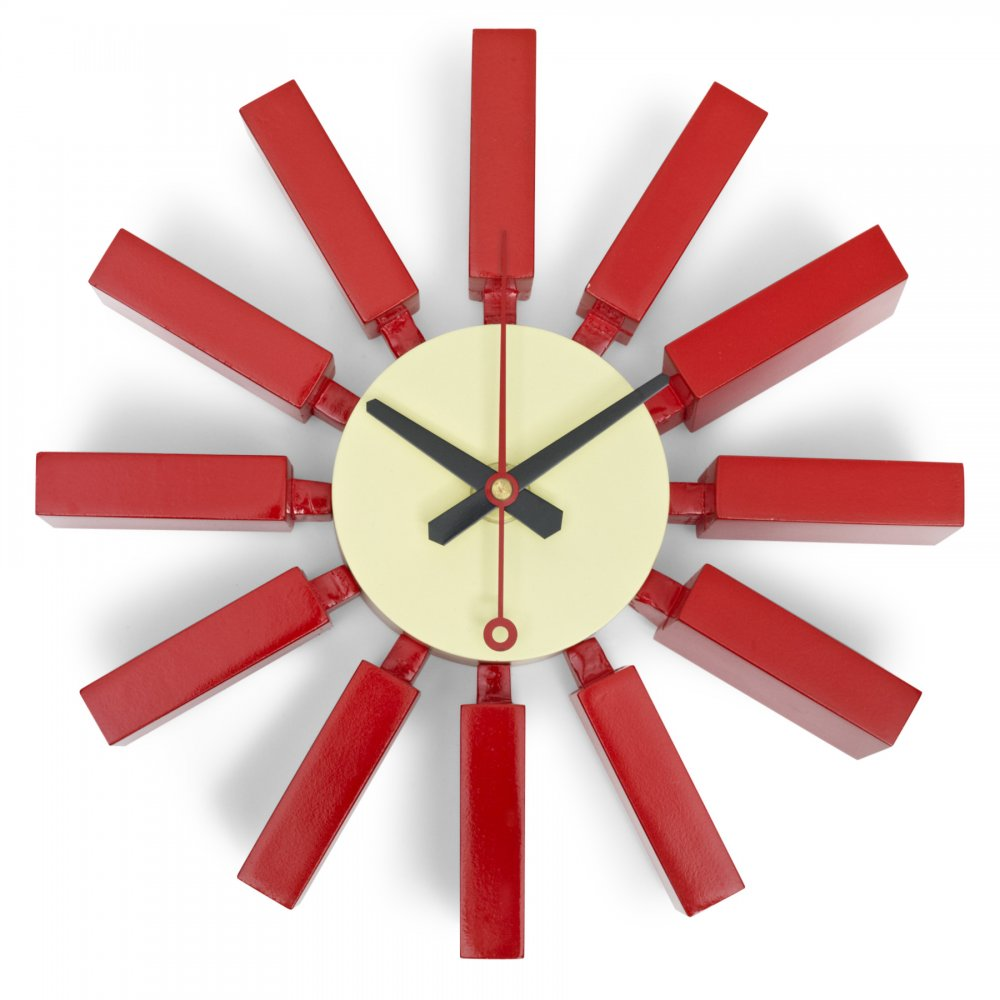 Asterisk Block Red Wall Clock