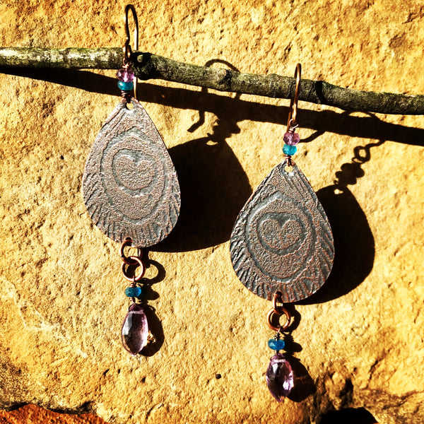 Copper Peacock Earrings