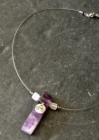 Amethyst Bicycle Fine Wire Necklace