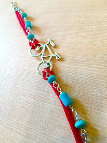 Cog WILDER Beaded Bicycle Friendship Bracelet - Red