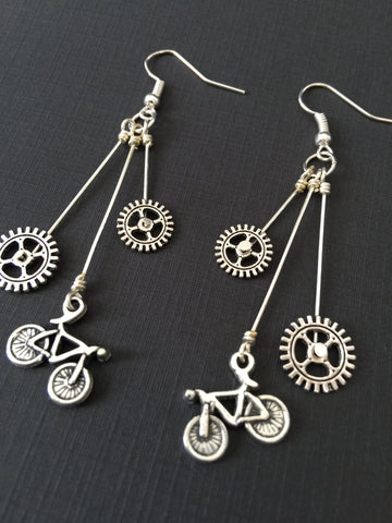Double Chainring Bike Dangle Earrings