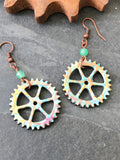 Colorful Bicycle Chain Ring Earrings / Bicycle Jewelry, Bicycle Earrings, Bike Jewelry, Mountain Bike, Bicycle Gift, Bike Gift for Her Biker