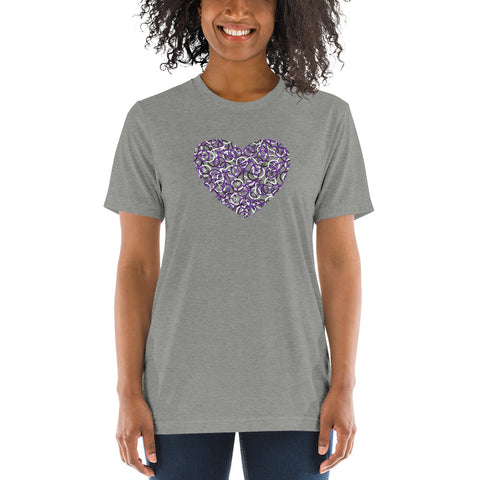 """The Bike Heart"" Women's Bicycle Tee Shirt - Purple Bikes / Bike Tee Shirt, Bicycle T Shirt, Bike T Shirt, Bicycle Tee Shirt, Mountain Bike, Bicycle Gifts"
