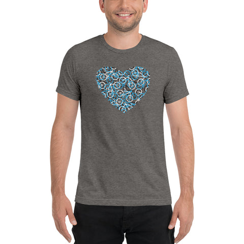 """The Bike Heart"" Women's Bicycle Tee Shirt - Blue Bikes / Bike Tee Shirt, Bicycle T Shirt, Bike T Shirt, Bicycle Tee Shirt, Mountain Bike, Bicycle Gifts"