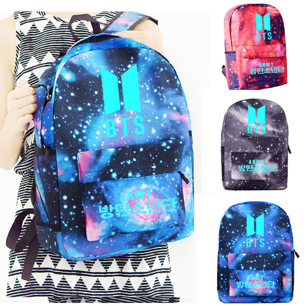 BTS luminous star students canvas fashion backpack Korea Night light School Bag