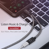 DUX DUCIS 2 in 1 Audio Charging Cable for iPhone X 8 7 Plus Fast Charger Adapter for Lightning Dual Port Converter 1m New
