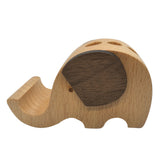 Wood Elephant Holder Pen Container with Phone Tablet Holder Desk Organizer