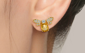 Citrine Gem Bee Stud Earrings