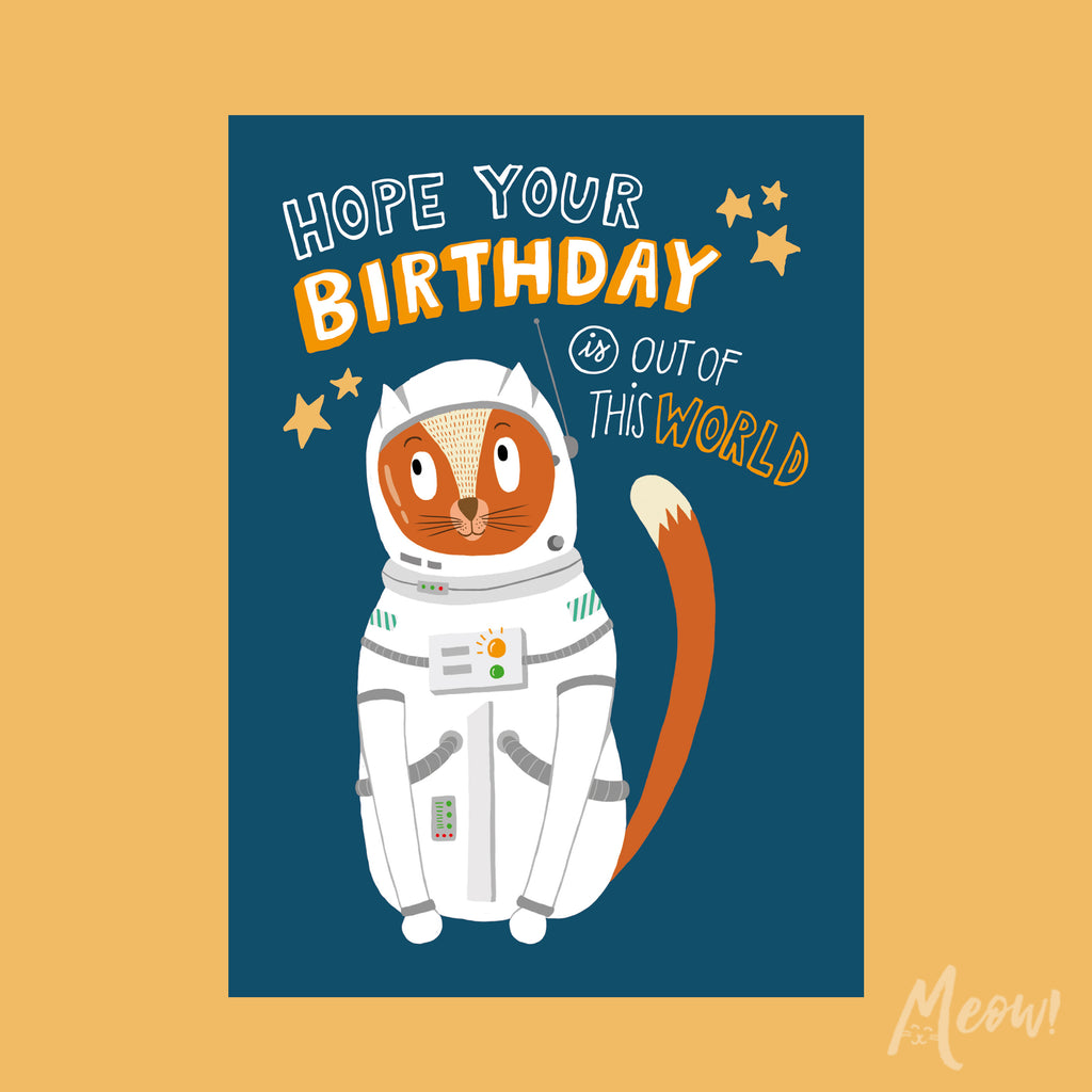 Astronaut Cat Birthday Card