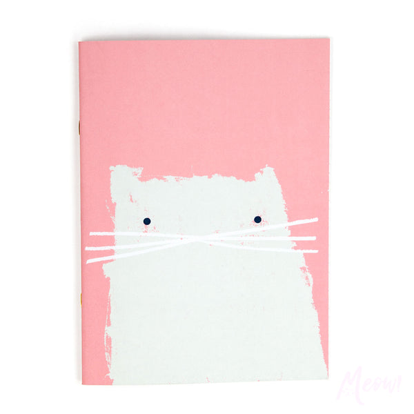 Pastel Pink Cat Notebook - A4ish