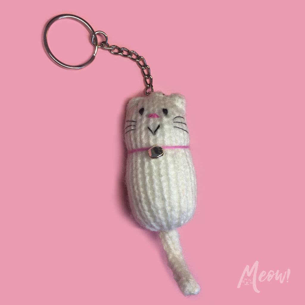 Fat Cat Keyring - White