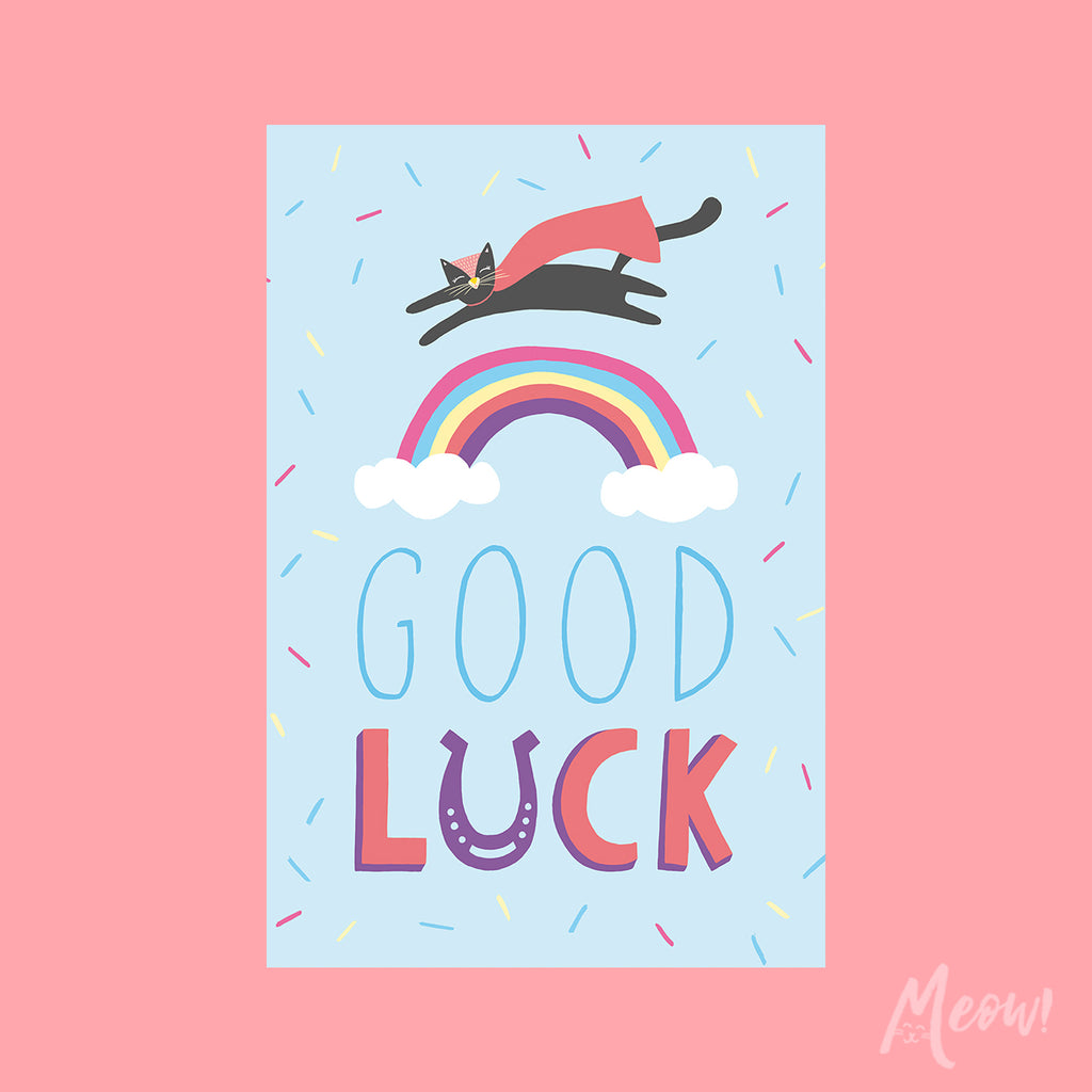 Good Luck Rainbow Cat Card