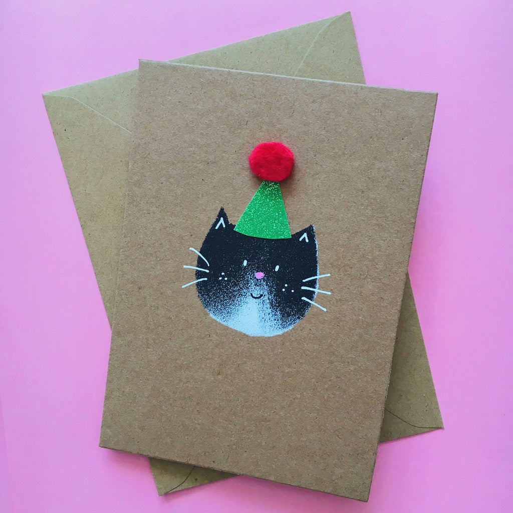 Mew Cat Party Hat Card