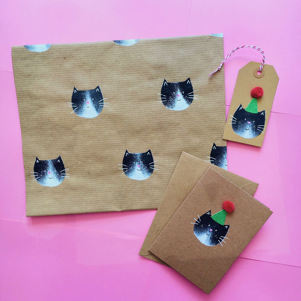Mew Cat Party Hat Gift Tag