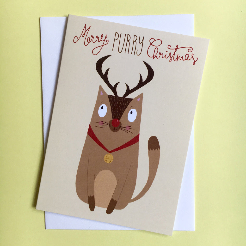 Rudolf the Red Nose Cat Christmas Card