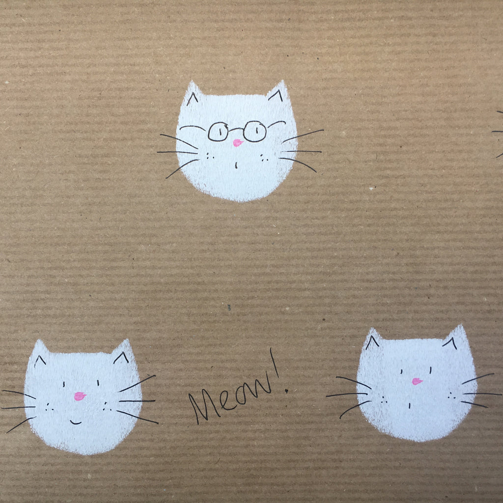 Glasses Cat Meow Wrap - White