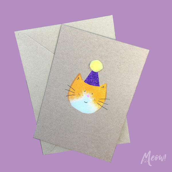 Mila Cat Party Hat Card