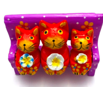 Cute Handmade Wooden Cat Desk Accessory - 3 cats
