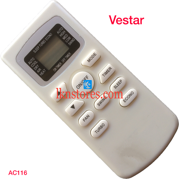 VESTAR AC AIR CONDITION REMOTE COMPATIBLE AC116