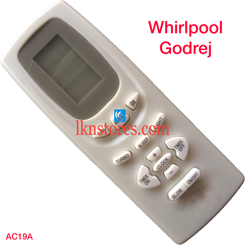 WHIRLPOOL GODREJ AC AIR CONDITION REMOTE COMPATIBLE AC19A