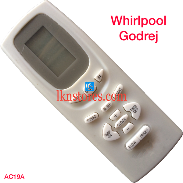 WHIRLPOOL GODREJ AC AIR CONDITION REMOTE COMPATIBLE AC19A - LKNSTORES